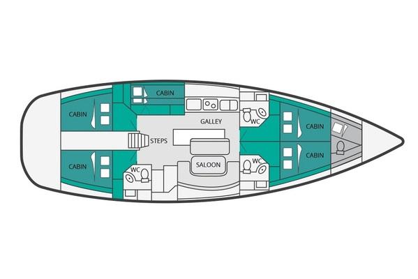 Beneteau Cyclades 50 - Moonbreeze - Medsail-Malta-Malta Charters - Layout