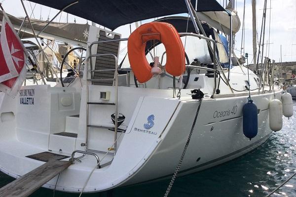 Beneteau Oceanis 40 Medsail Malta Yacht Charter Sailing Stern Kalkara Marina