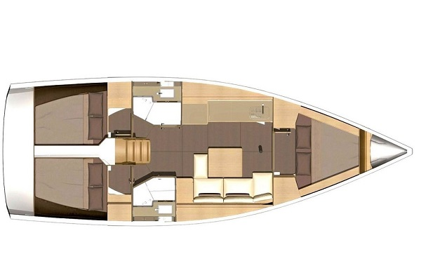 Dufour 382 - medsail- Pleasant Company Malta Charters Layout