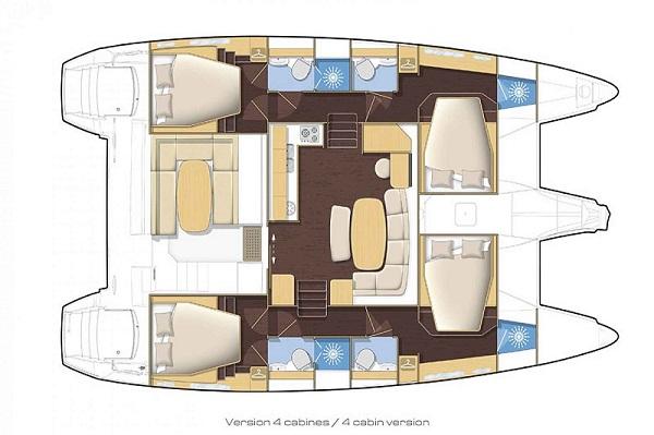 Lagoon 421 - Double Seven - Medsail Malta Saily Yaht Charters - Layout